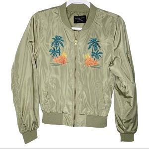 Love Tree Army Green Aloha Hawaiian Jacket Small